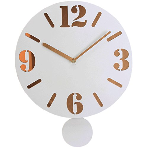 Hometime The Milky Clock White Vintage Style Wall Clock With Pendulum W7319