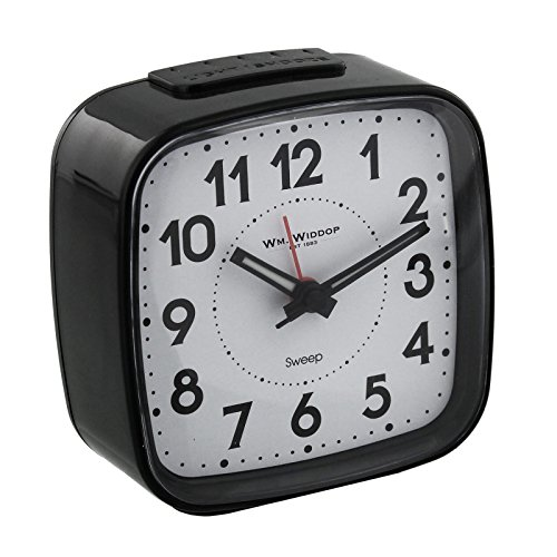 Non Ticking Alarm Clock, Crescendo Beep Alarm with Light and Snooze, Black