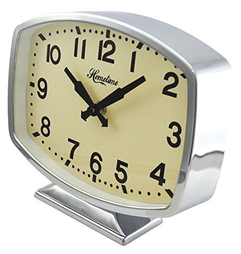 Chrome Retro Metal Oblong Mantel Quartz Clock