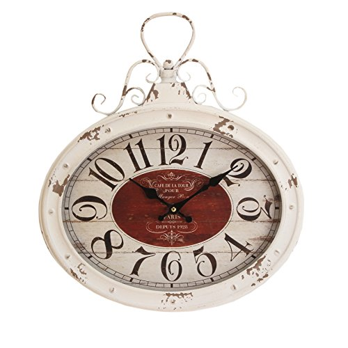 Hometime Metal Wall Clock Cream Oval 'Rococo' – Rustic Vintage Distressed Finished