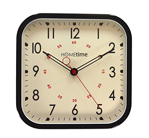 Square Metal Cased Black Bold Classic Retro Quartz Wall Clock 30 cms