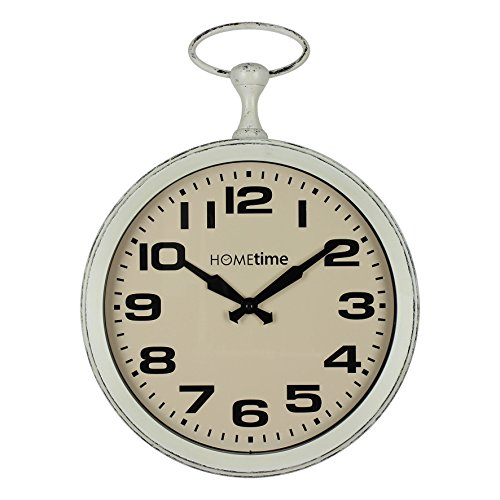 Hometime Metal Wall Clock Oval Ring on top Cream