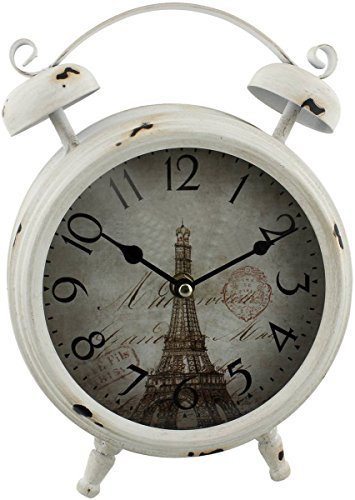 Cream Antique Double Bell Alarm Clock by HomeTime