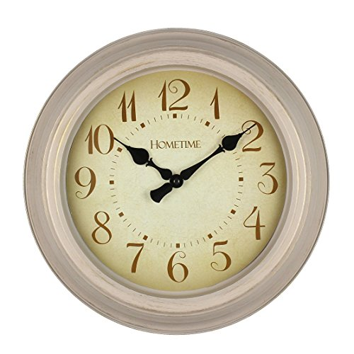 Hometime Round Cream Antique Dial Wall Battery Operated Clock