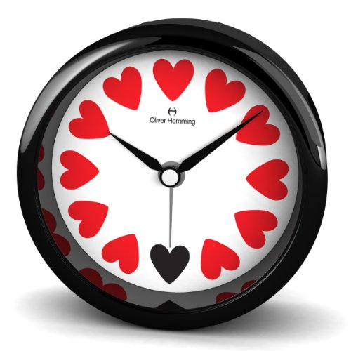 Oliver Hemming 8 cm Heart Acrylic Designer Alarm Clock with Mineral Glass Lens Alarm and Snooze, Black