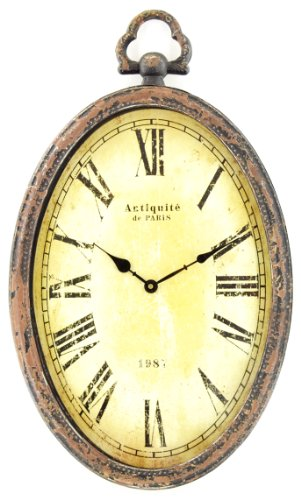 Stunning Hometime Large (65cm) Metal Shabby Chic Oval Wall Clock