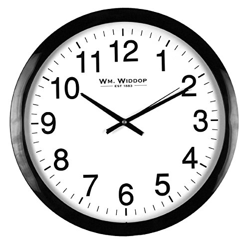 Large Stylish Black & White Bold Classic Quartz Wall Clock Non Ticking Silent Sweeping Seconds 40cm