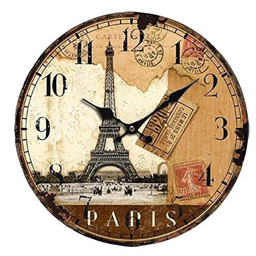 Wall Clock, Finer Shop 14 Inch Vintage France Paris Eiffel Tower Arabic Numerals Design Silent Wooden Wall Clock Home Decoration
