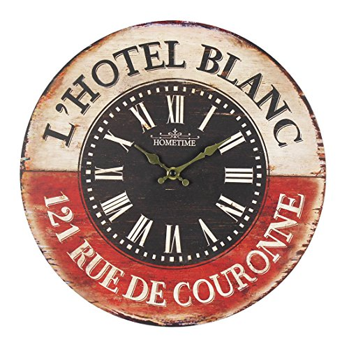 Wall Clock, Finer Shop 14 Inch Vintage Look Silent Wooden Wall Clock Classic Accessories Decoration for Home