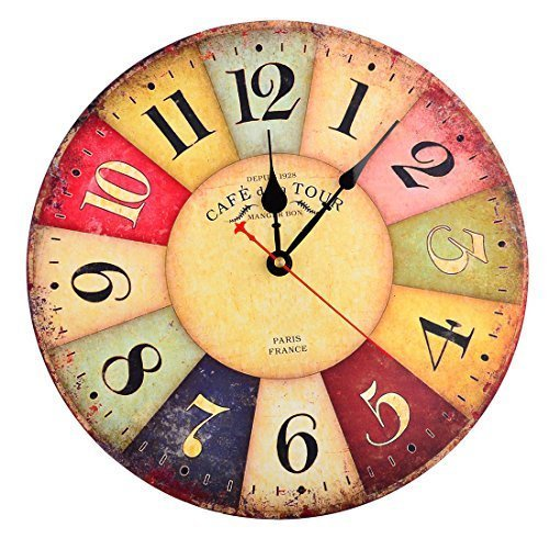 Wall Clock, Finer Shop 12 Inch Vintage Colorful France Paris French Country Tuscan Style Arabic Numerals Design Silent Wooden Wall Clock Home Decor