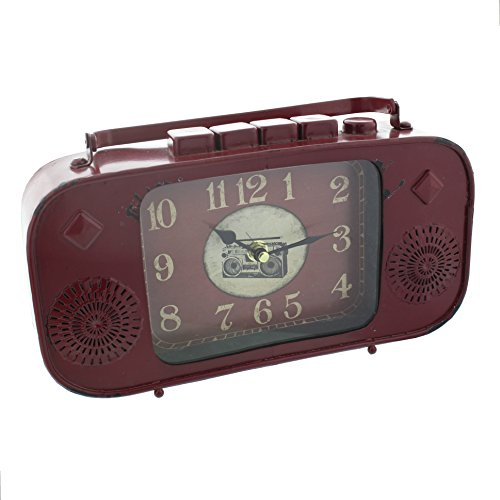 Red Metal Vintage  Retro Radio Style Mantel Clock by HomeTime