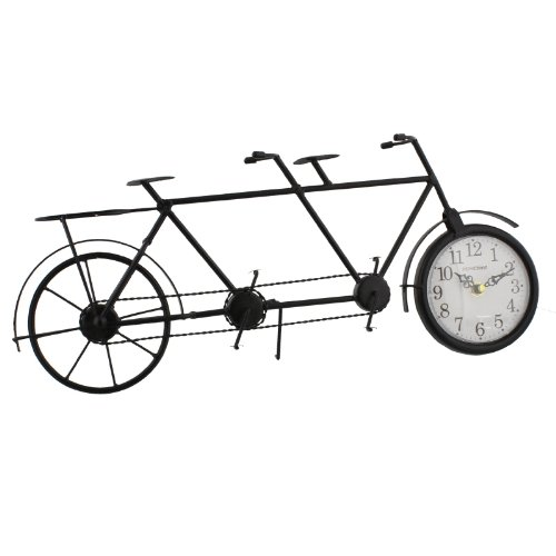 Black wire Wall Art tandem bicycle clock by Hometime
