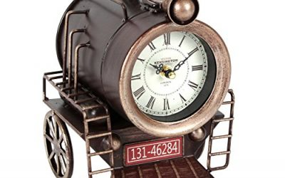 Hometime Metal Mantel Clock – Vintage Locomotive Steam Train Engine Section