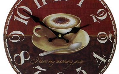 Red/Brown Coffee Cup Wall Clock by HomeTime