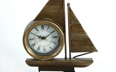 Large Metal Nautical Sailing Boat Mantel Clock