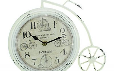 White/Cream Penny Farthing Mantel Clock by HomeTime