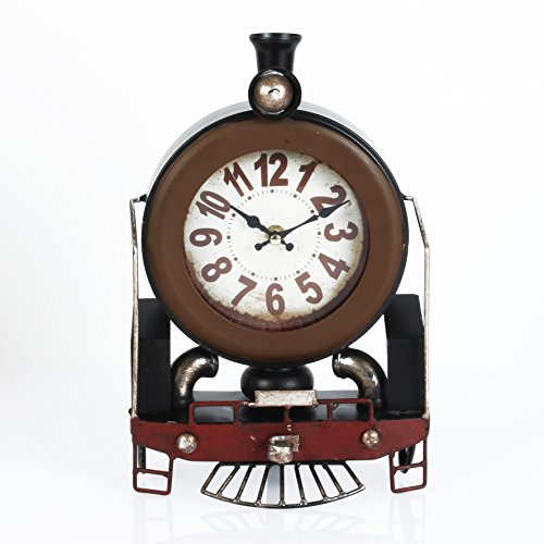 Steam Train Locomotive Metal Mantel Clock