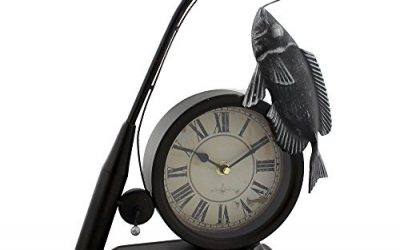 Hometime Metal Mantel Clock – Vintage Style Fishing Rod & Fish