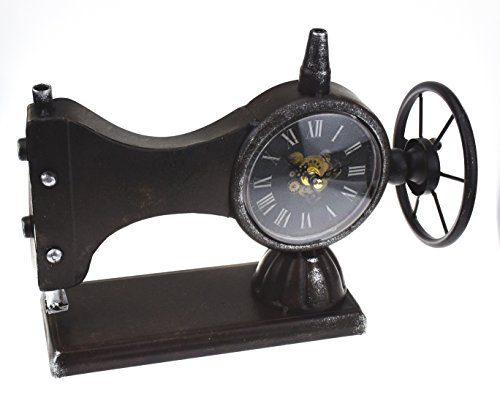 Hometime Metal Mantel Clock – Antique Style Sewing Machine
