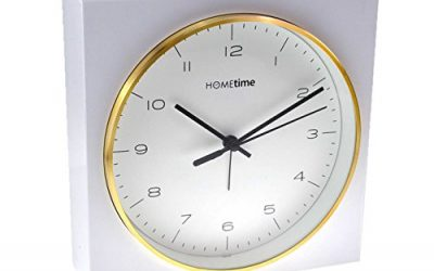 Hometime Square White Alarm Clock Large 16.5cm Black Numerals Gold Tone Rim Wall