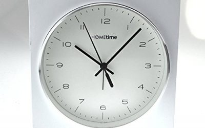 Hometime Square White Alarm Clock Round Silver Bezel Dial 16cm