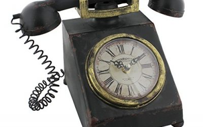 Hometime Metal Mantel Clock – Old Fashioned Classic Telephone – Vintage Shabby Chic …